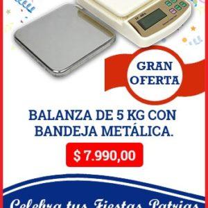 Balanza de 5 Kg. Incluye Bandeja Metálica