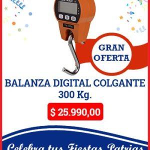 Balanza digital colgante de 300 kg.